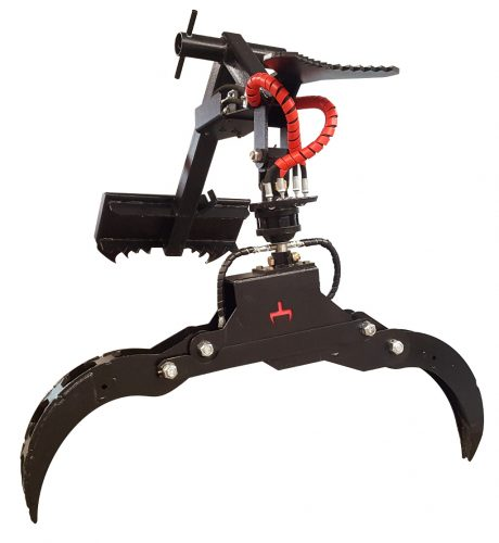 Branch Manager Grapple with Rotator (BMGR) Rotating Grapple Black Red Moose Pusher Tree